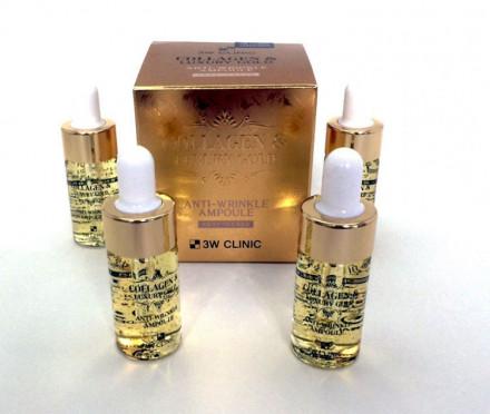 Сыворотка с золотом и коллагеном 3W CLINIC Collagen & Luxury Gold Anti Wrinkle Ampoule 13мл*4: фото