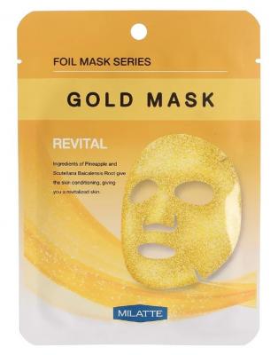 Маска тканевая витаминная MILATTE GOLD MASK REVITAL 23г: фото