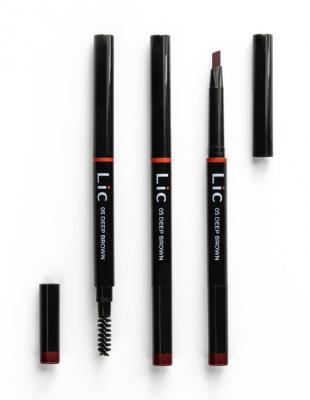 Карандаш механический для бровей с треугольным грифелем Lic Mechanical eyebrow pencil 05 Deep brown: фото